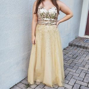 Strapless Gold Prom Dress/Ball Gown